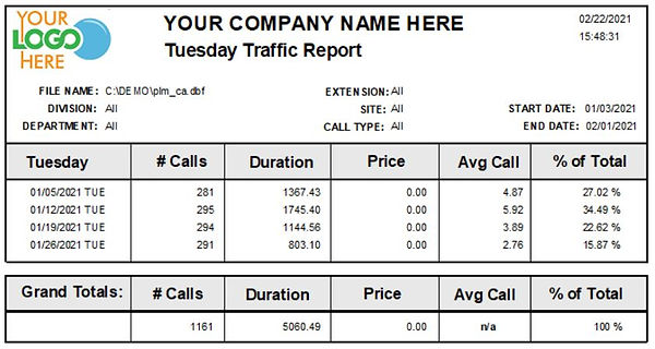 Comm One Call Accounting Software Tuesday sample report