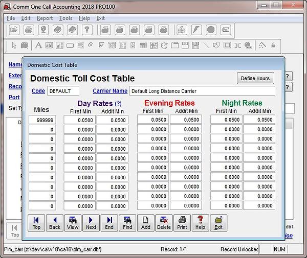 domestic cost table file maintenance scr