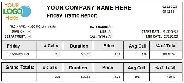 Comm One Call Accounting Software Friday traffic report sample
