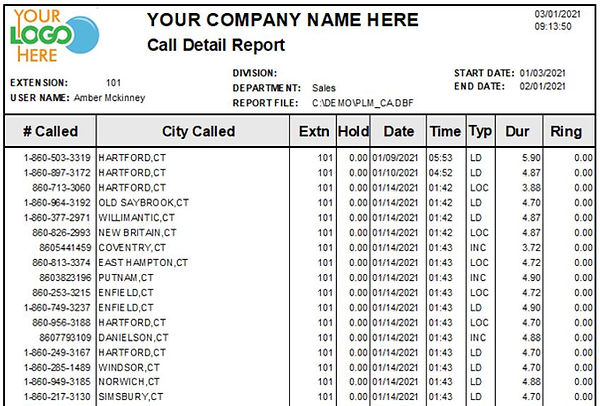 Comm One Call Accounting software call detail report sample
