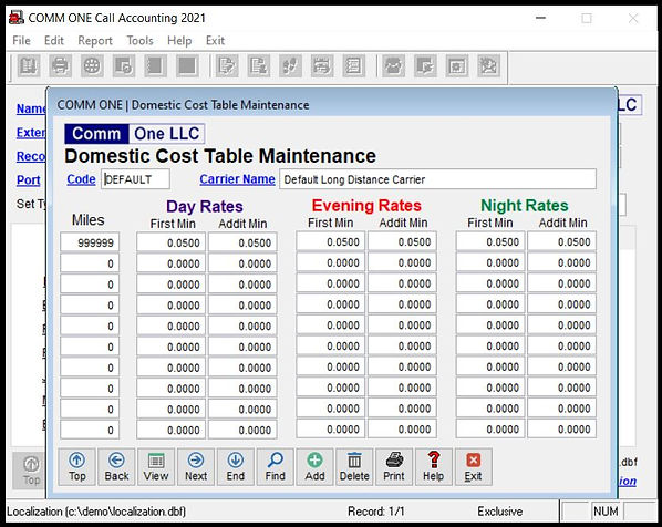 Comm One Call Accounting Software domestic cost table maintenance
