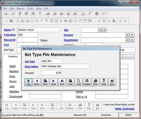 telephone set type file maintenance scre
