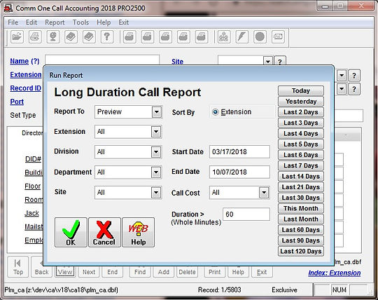comm one call accounting software long d