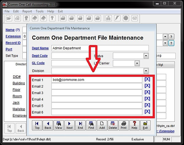 department file email address setup scre