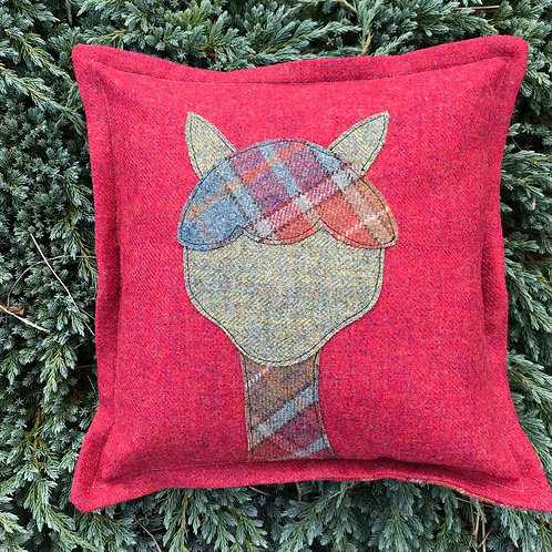 Alpaca Cushion (Raspberry and Plaid)