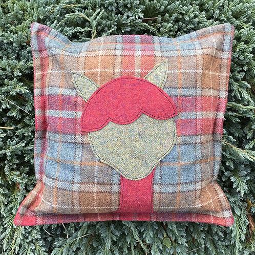 Alpaca Cushion (Plaid and Raspberry)