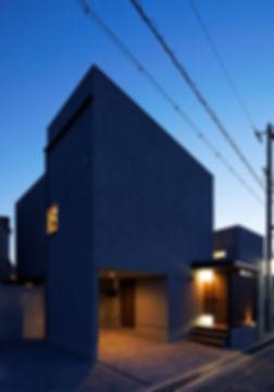 外観,夜景,中庭,シンプル,モダン,家,住宅,注文住宅,デザイン,ミニマル,家,建築家,設計事務所,兵庫県,たつの市
