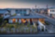 外観,夜景,平屋,住宅,シンプル,モダン,玄昌石,注文住宅,デザイン,ミニマル,家,建築家,設計事務所