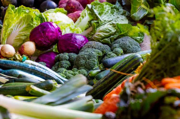 An array of vegetables that include cruciferous veggies such as broccoli, kale and cabbage that help reduce estrogen dominance.