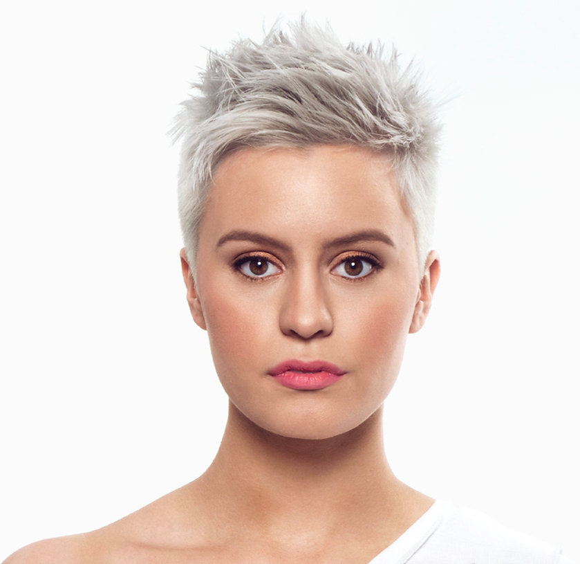 Platinum Short Blonde Hair Model for Colors Beauty and Wellness Photoshoot .jpg