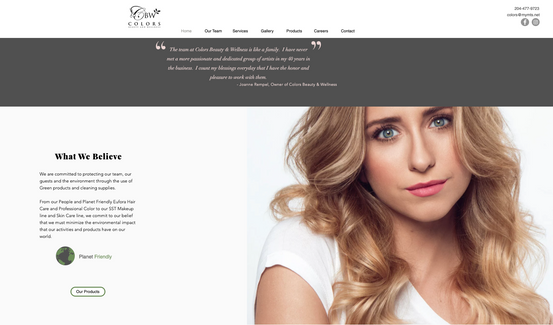 Beauty Industry Web Design Example