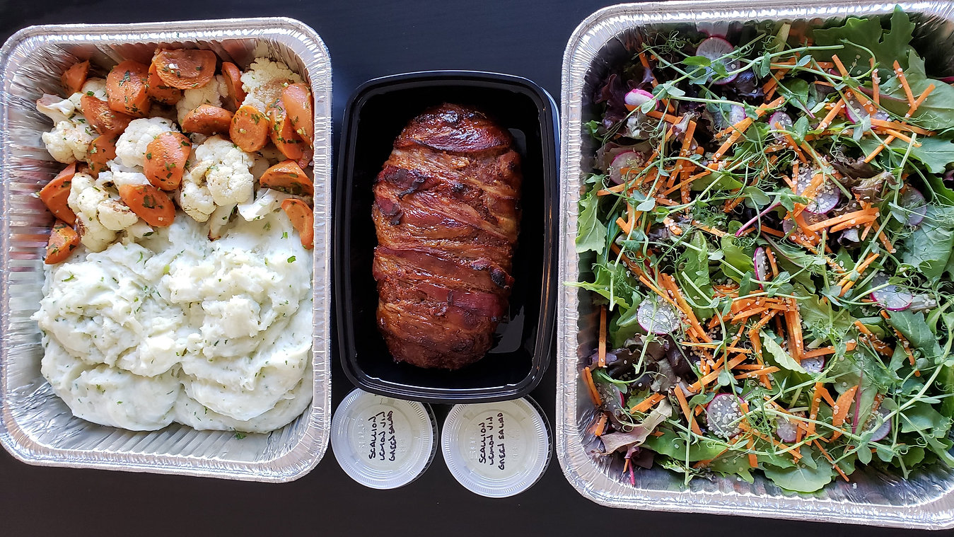 Family-sized bacon-wrapped meatloaf meal for home delivery service from Knife and Nettles Catering