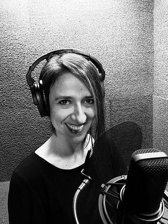 Juliana Velez, a Spanish Voice Actor, in her home studio.JPG