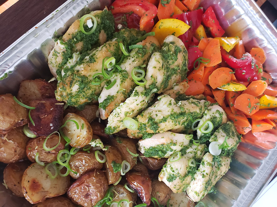 Asiago Spinach Pesto Chicken Breast packaged for meal delivery service in Vancouver.jpg