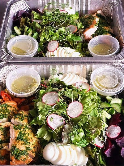 Chicken Salad Meal prepped for delivery service from Knife & Nettles Catering Vancouver.jp