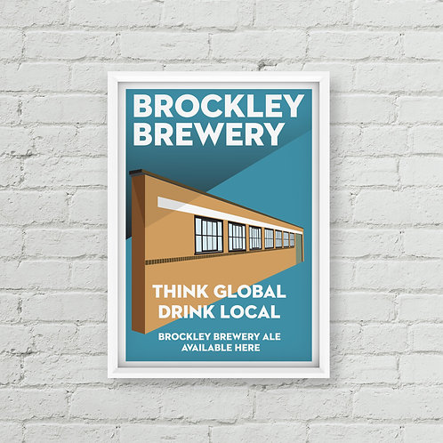 Think Global, Drink Local Brockley Brewery Poster (A3 / A2)