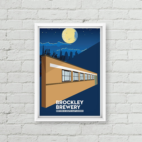 Moon Over Brockley Brewery Poster (A3 / A2)