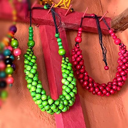 Collier réglable perles en bois