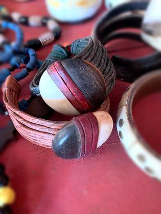 Bracelet cuir, corne et ébène