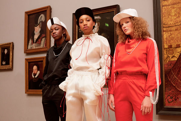 Models wearing This Is The Uniform at Tate Britain, Stance Exhibition