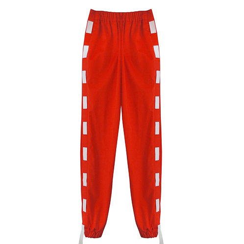RED ELASTIC STRIP JOGGERS