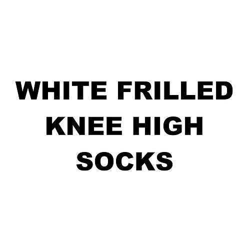 WHITE FRILLED KNEE HIGH SOCKS
