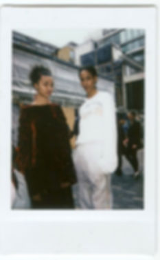 A polaroid picture of models wearing This Is The Uniform in Soho, London