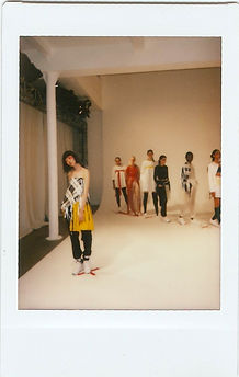 A polaroid picture of a model wearing This Is The Uniform at New York Fashion Week