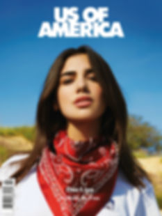 Dua Lipa Wearing This Is The Uniform Red Embellished Silk Bandana for Us Of America Magazine