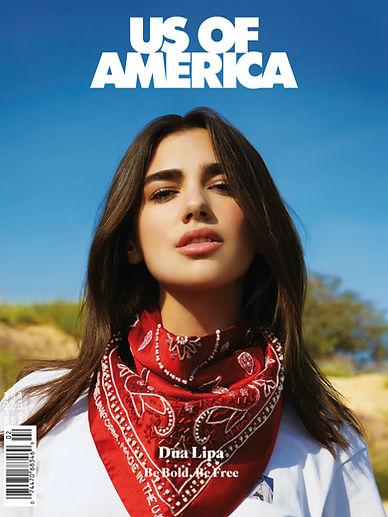 Dua Lipa Wearing This Is The Uniform Red Embellished Silk Bandana for Us Of America Magazine