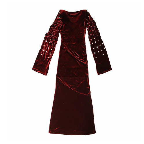 SILK VELVET SMOCKED POPPER DRESS
