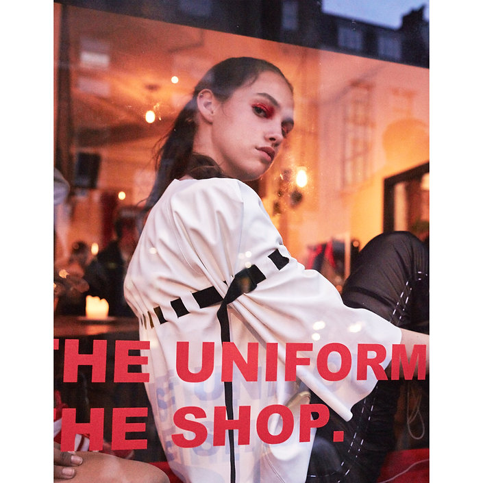 A model wearing This Is The Uniform for pop up shop event