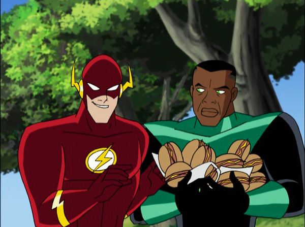 Barry Allen from the Justice League cartoon is the goofy comic relief of the crew.