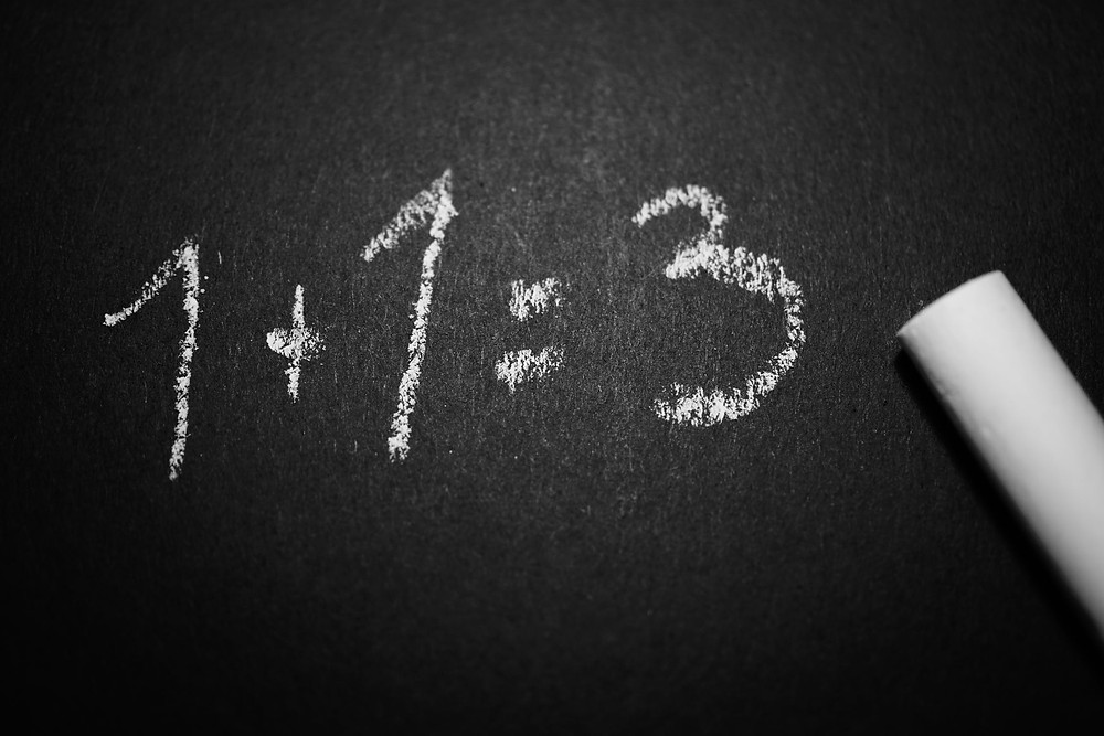 Addition equation on blackboard