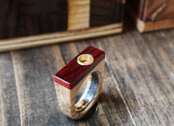 Brass Hoop Wood Ring
