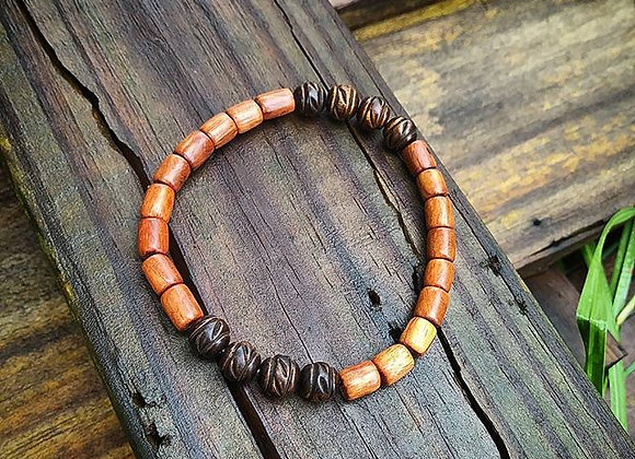 Carved Wood Bead Bracelet