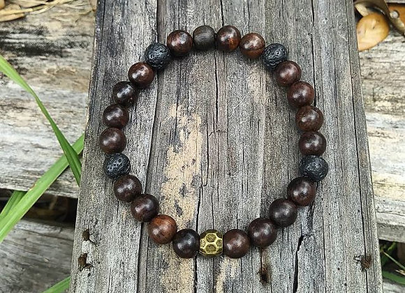 Stone,Wood and Brass Bracelet