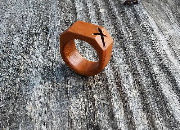Carved X Wood Ring