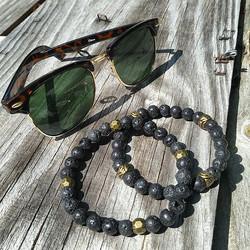 New Lava Rock bead bracelets