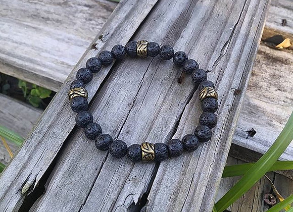 Stone Bracelet and Brass Bracelet