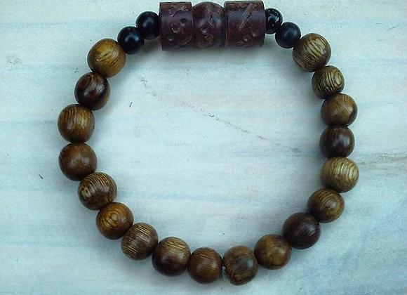 Deep Brown Carved Column Kahuna Bracelet