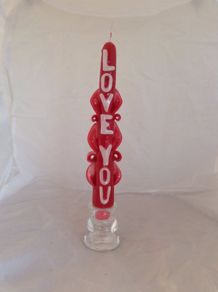 Hand Carved Love you Taper Candle