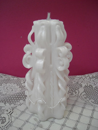Carved White Wedding Candle