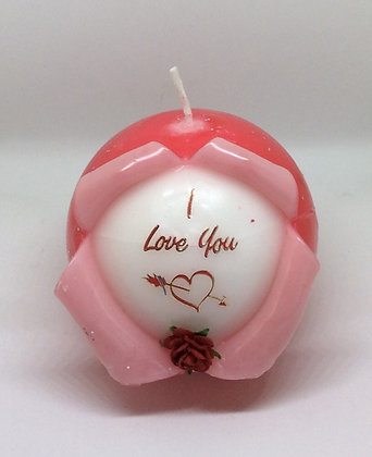 I Love you Valentines Ball Candle