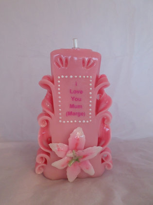 Mothers Day Carved Candle
