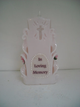 Memorial candle with message