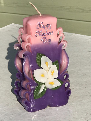 Mother's Day Carved  candle