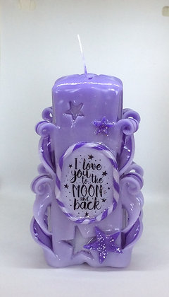 I love you to the Moon and Back Hand Carved candle
