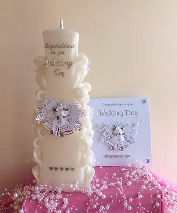 White Carved Wedding Candle with matching card