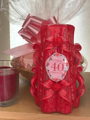 40th Ruby Wedding Anniversary Candle